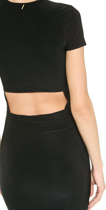 MISA Short Sleeve Open Back Dress