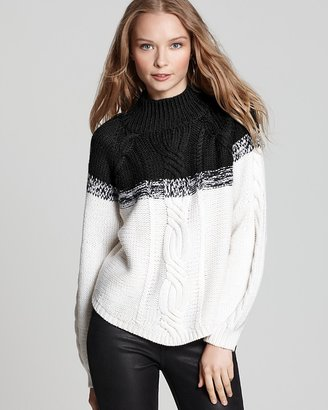 525 America Quotation Sweater - Stacey Cotton Mockneck Tweed Turtleneck