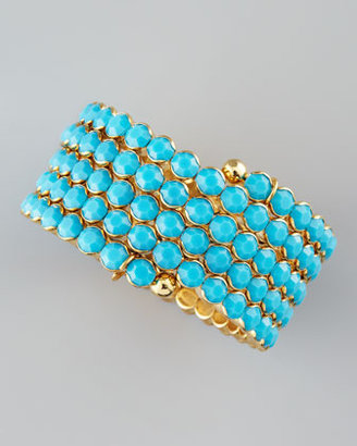 Cara Accessories Crystal Spiral Bracelet, Turquoise
