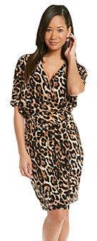 Chaus Dolman Wrap Leopard Dress