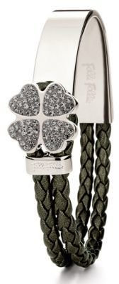 Folli Follie Folli di Fiore Silver Plated & Crystal Pave Braided Bracelet