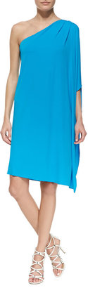 Michael Kors One-Shoulder Tissue Matte Jersey Dress, Pool