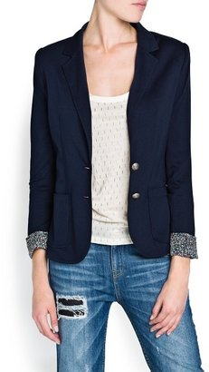 MANGO Outlet Contrasted Lining Jersey Blazer