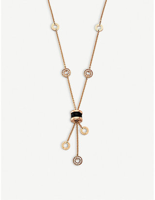Bvlgari Women's Black B.Zero1 18Kt Pink-Gold Necklace With Ceramic And Pave Diamonds