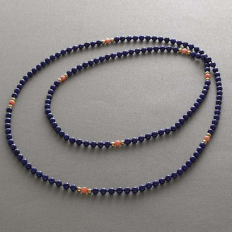 Lapis Gump's With Salmon Coral Rope Necklace