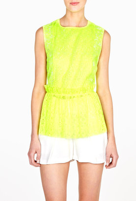 MSGM Fluoro Yellow Lace Sleeveless Peplum Top