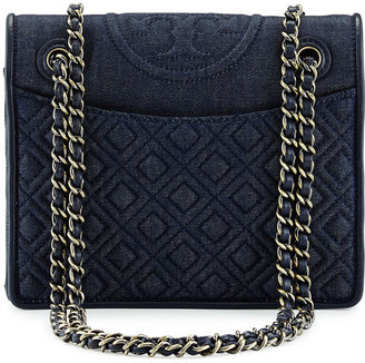 Tory Burch Fleming Quilted Denim Flap Bag, Indigo