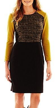 JCPenney Trulli Tweed-Inset Colorblock Dress