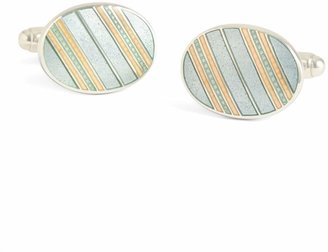 Brooks Brothers Grey with Light Pink Striped Oval Cuff Links