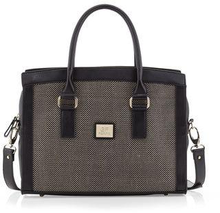 Gianfranco Ferre GF Large Woven-Center Satchel Bag, Black/Black