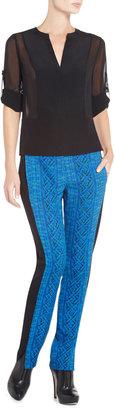 BCBGMAXAZRIA Liberty Silk Rolled-Sleeve Top