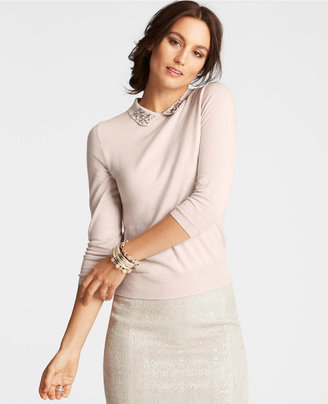 Ann Taylor Petite Embellished Collar Sweater