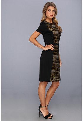 Halston Short-Sleeve Wide Scoop Neck Dress w/ Contrast Lace Front