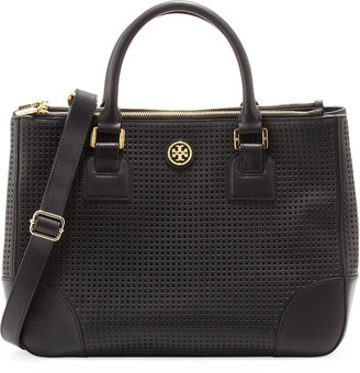 Tory Burch Robinson Perforated Double-Zip Tote Bag, Black
