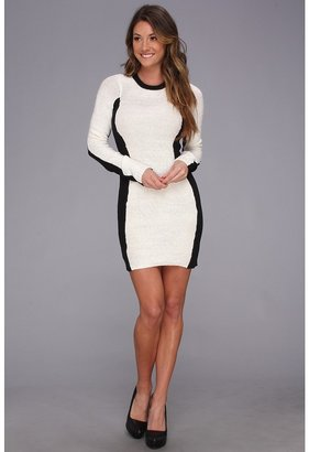 BCBGeneration L/S Round Neck Sweater Dress (Whisper White) - Apparel