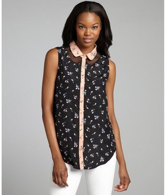 Isabel Lu blush and black bird print sleeveless collar blouse