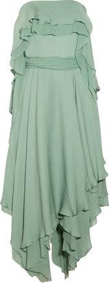 Halston Ruffled silk-chiffon gown