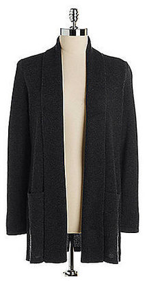 Lord & Taylor Petite Cashmere Mixed Gauge Open Cardigan