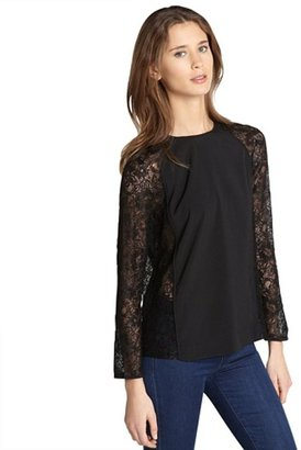 French Connection black lace 'Anabelles' long sleeved top