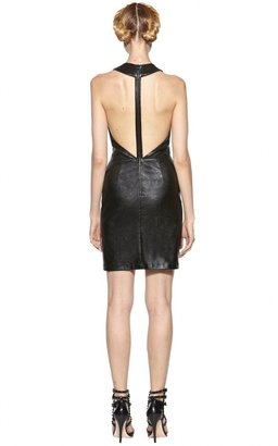 Alice + Olivia Layne Stretch Leather Fitted T-Back Dress
