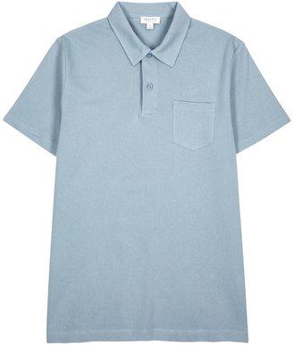 Sunspel Riviera Blue Knitted Cotton Polo Shirt