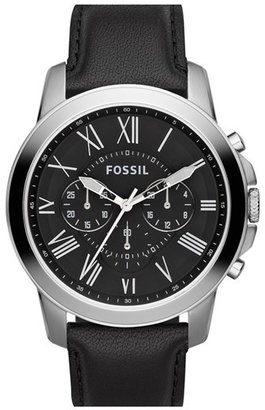 Fossil 'Grant' Round Chronograph Leather Strap Watch, 44mm $115 thestylecure.com