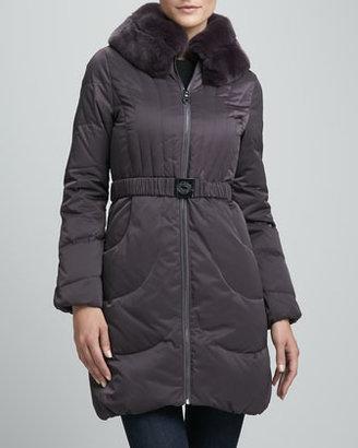 Elie Tahari Corey Fur-Collar Puffer Coat