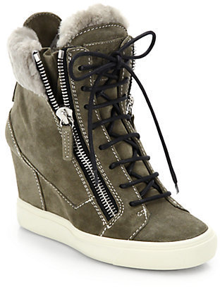 Giuseppe Zanotti Shearling-Trimmed Suede Platform Wedge Sneakers