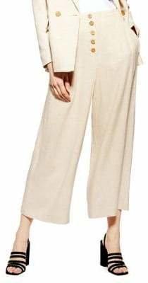 Topshop Linen-Blend Cropped Wide Leg Pants