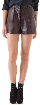 Porter Grey Leather Trouser Shorts