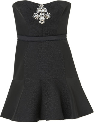 Rebecca Taylor Strapless Cloque Dress With Embellishment