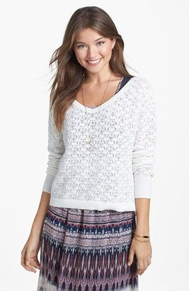 Frenchi Pointelle Knit Pullover (Juniors)