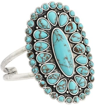 Lucky Brand Turquoise Set Stone Cuff (Silver) - Jewelry