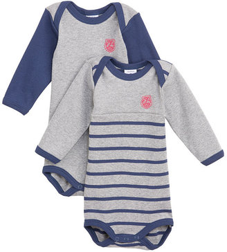 Petit Bateau Pack Of Two Baby Boy Long-Sleeved Cotton Bodysuits