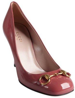 Gucci dark mauve patent leather 'Vernice' horsebit pumps