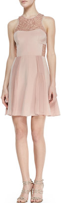Rebecca Taylor Lace-Inset Pleated Cocktail Dress