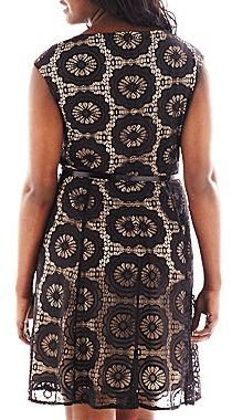 JCPenney London Style Collection Belted Lace Keyhole Dress - Plus