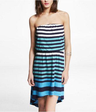 Express Striped Strapless Hi-Lo Hem Dress
