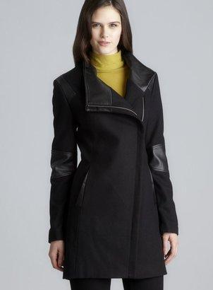 Calvin Klein Two Pocket Hidden Asymmetrical Zip Wool Coat With Faux Leather Detail