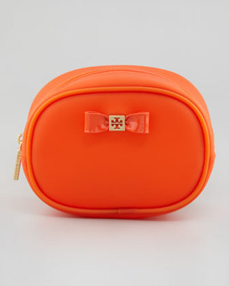 Tory Burch Small Jelly Bow Cosmetic Case, Electric Orange
