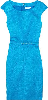 Oscar de la Renta Belted cotton-blend jacquard dress
