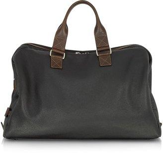 Chiarugi Black and Brown Genuine Leather Weekender