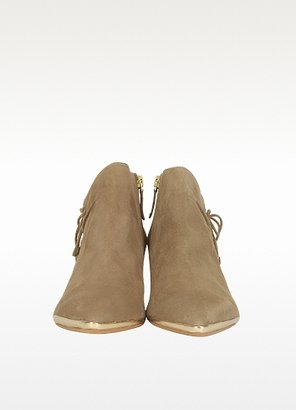 DKNY Taupe Suede Mid-Heel Bootie