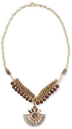 Rachel Zoe Tinley Road Rhinestone and Wood Beaded Necklace