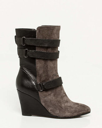 Le Château Suede & Faux Leather Wedge Boot