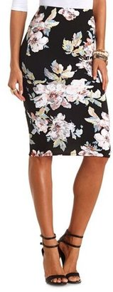 Charlotte Russe Textured Floral Print Bodycon Midi Skirt