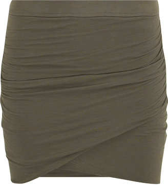 James Perse Wrap-front jersey mini skirt