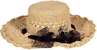 Ermanno Scervino Nature hat with black tulle bow