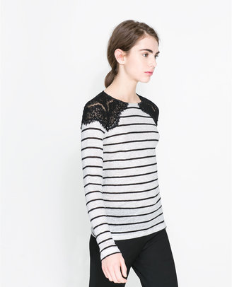 Zara T-Shirt With Lace Detail