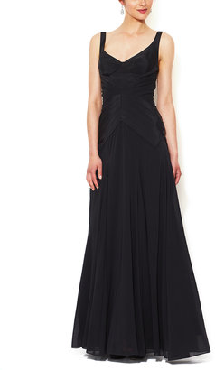 Zac Posen Silk Seamed Bodice Flared Gown